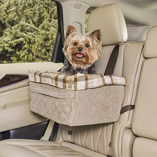 PetSafe Happy Ride Quilted Booster Seat - Dog Booster Seat for Cars, Trucks and SUVs - Easy to Adjust Strap - Durable Padded Liner is Machine Washable and Easy to Clean - Large