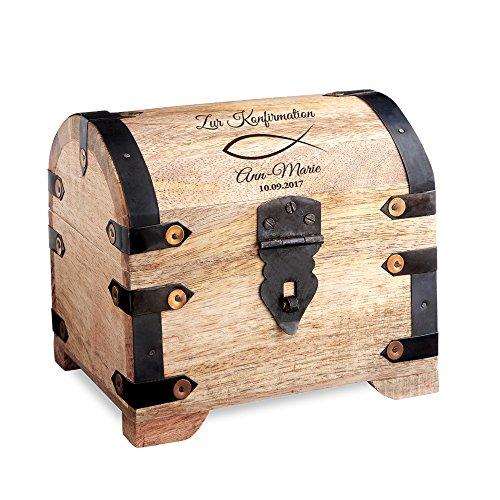 Casa Vivente Schatztruhe mit Gravur – Zur Konfirmation – Motiv Fisch – Personalisiert mit Namen und Datum – Helles Holz – Verpackung für Geldgeschenke – Geschenkidee für Konfirmanden