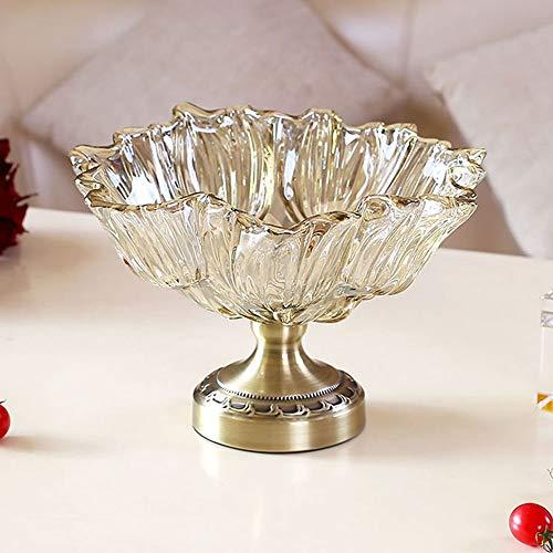 Goodvk Fruchtschale Tulip hohe Glas Obstteller Wohnzimmer Startseite Obstteller Couchtisch Zuckertopf, Klar Anwendbar für viele Situationen (Farbe : Clear, Size : 29X19.5cm)