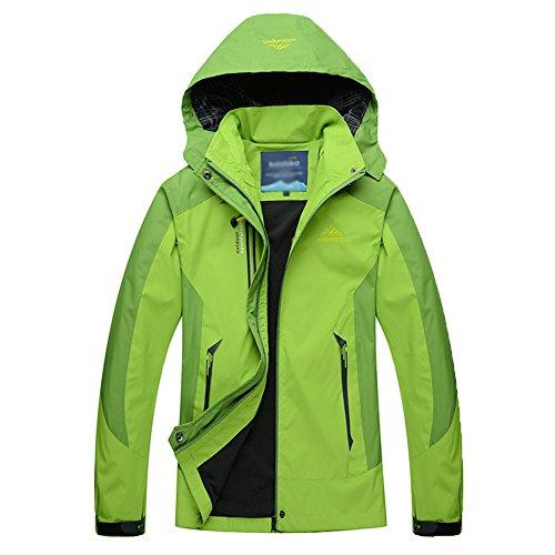 Guiran Herren/Damen Softshell Jacke Outdoor Funktionsjacke Kapuzenjacke Klettern Freizeitjacke Sportjacke Arbeitsjacke Grün 2XL
