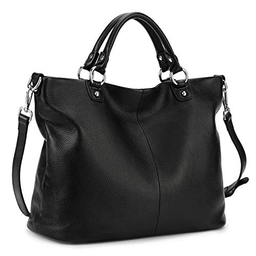 MATERIAL: 100% Brand New and Top Layer Cowhide Leather; High quality silver hardware and zipper closure. Interior with polyester lining POCKETS: Interior: 1 Main compartment suitable for file folder; 1 divider zip pocket; 1 zip pocket and 2 small ope...