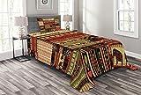 ABAKUHAUS afrikanisch Tagesdecke Set, Patchwork Stil Asiatische, Set mit Kissenbezug Romantischer Stil, für Einselbetten 170 x 220 cm, Rot-grün-schwarz