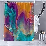 YAEHOCO Abstrakter Duschvorhang aus Stoff, Hauptfarben: Orange, Lila, Blau, Gelb, Blaugrün, wasserdicht, mit Haken für Badezimmer-Dekoration, 121,9 x 182,9 cm