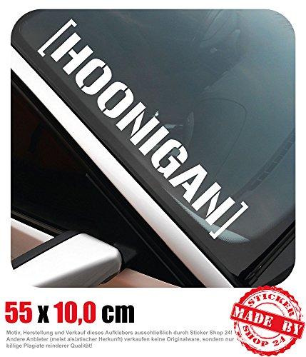 Sticker Shop 24 Hoonigan Adhesivo para Parabrisas 55,0 cm x 10,0 cm Auto Adhesivo JDM OEM Tuning Decal 30 Colores a Elegir