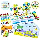 Paochocky Mosaique Enfant Puzzle 3D Jeu de Construction Mosaïque Enfant Jouet à Visser Mosaique avec Perceuse Electrique Magique pour Enfant Garcon Fille 3 4 5 6 Ans
