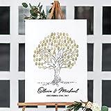 Cuadros salon Libro de visitas de huellas dactilares de boda impresiones artísticas en lienzo árbol de huellas dactilares decoración de celebración de boda/50x72cmx3 sin marco