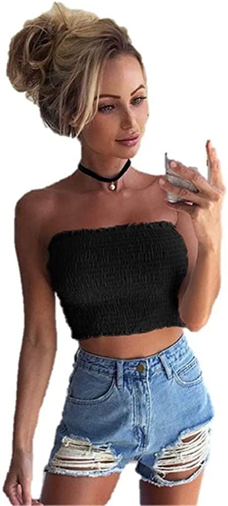 MASZONE Strapless Pleated Sexy Tube Crop Tops for Teen Girls Stretch Solid Color Cute Tops Vest Shirts Sleeveless