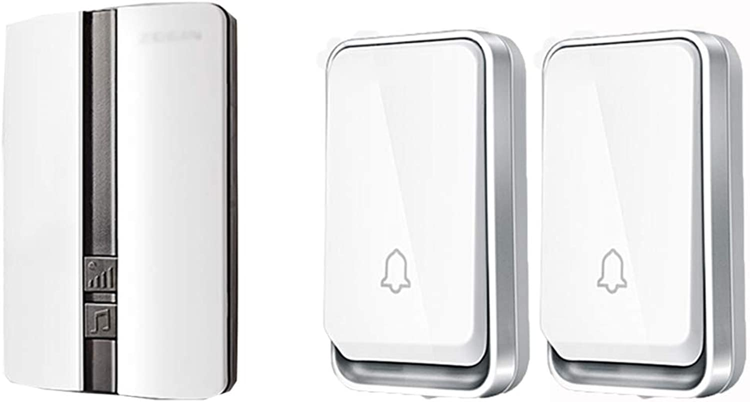 Home Wireless Doorbell, Plugin Receiver + Transmitter (SelfPowered), Family Company,2Transmitter+1Receiver