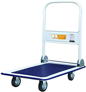 Folding Hand Truck 4-Wheel Folding Trolley, Maximum Load-Bearing 150kg Folding Hand Dolly for Shopping, Business Travel, Cargo Handling, Home Office. (Color : Blue, Size : 60 * 90 * 86CM)
