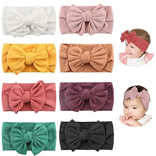 Makone Bébé Bandeaux(8pcs), Super Soft Stretchy Knot Bébé Turban, Multicolore Hairband pour Bébé Nouveau-né Filles, Bande de Cheveux Bébé Tout-Petit