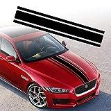 TOMALL 49'x 8,7' Pegatina de Rayas para capó de Coche Auto Racing Body Stripe Lateral Calcomanía Falda Techo Parachoques Calcomanía de Vinilo Modificado Calcomanía Decoración para Coche (Negro)