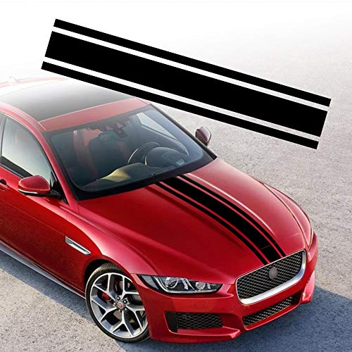 TOMALL 49'x 8.7' Car Hood Stripe Sticker Auto Racing Body Side Stripe Decal Skirt Roof Hood Bumper Stripe Decal Vinyl Modified Stripe Decal Decoration for Car (Black)