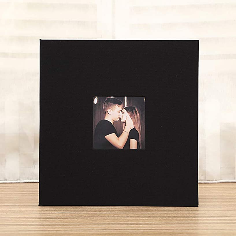 斧カップ膨らみAlician リネンカバー画像アルバム自己粘着フィルムDIY手作りメモリフォトブック家の装飾のギフト black 20