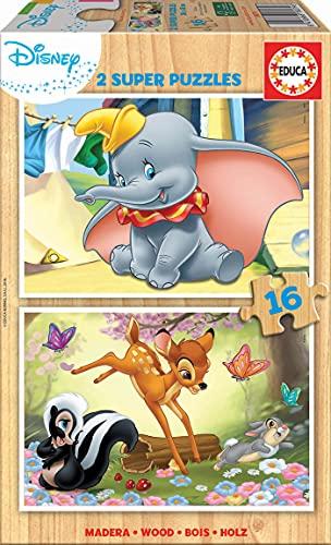 Educa - Disney Animals : Dumbo y Bambi 2 Puzzles Infantiles de Madera ecológica de 16 Piezas, a Partir de 3 años (18079)