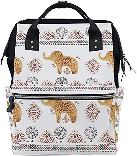 College Bag Golden Cartoon Elephant Tote Bags Stijlvolle Dad Mom Muti-Function Print luiertas baby Mummy Bag waterdichte verzorgingsluier Mummy rugzak grotere capaciteit reiseru