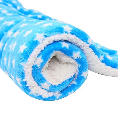 Haodou Haustier Decke Hundebett Hundekissen Stern Blau Decke Matte Mimi Softe Warme Flanell Hundedecke Katzendecke Fleecedecke Schlafplatz für Hund Katzen für den Winter(70 * 55CM)