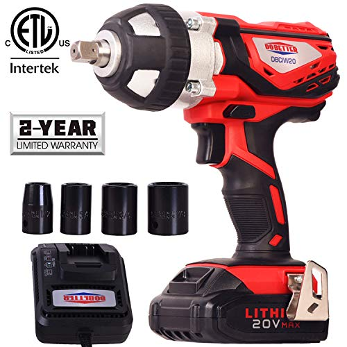 """Cordless Impact Wrench 1/2"""" Max Torque 300N.m Compact Battery Impact Wrench with 4Pcs Sockets,..."""