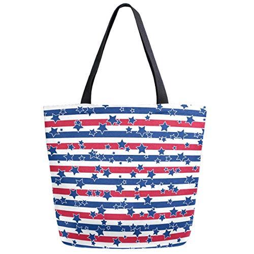 Americna Flag - Bolso de lona para mujer, estilo casual, para la compra, para la compra, para mujer