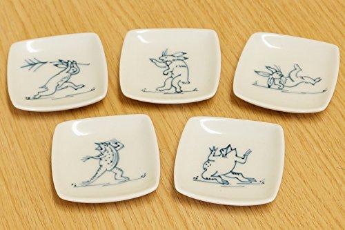 Imari keramiek kozan-ji Tempel chagno dier karikatuur konijn & kikker 5 x vierkante chopstocks rest (5 verschillende afbeeldingen) kunnen ook voor borden