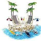 LAANCOO casa de muñecas en Miniatura Accesorios Beach Decoración del Paisaje de la Playa Micro con tumbonas Parasoles de la Palmera para el Verano 18PCS