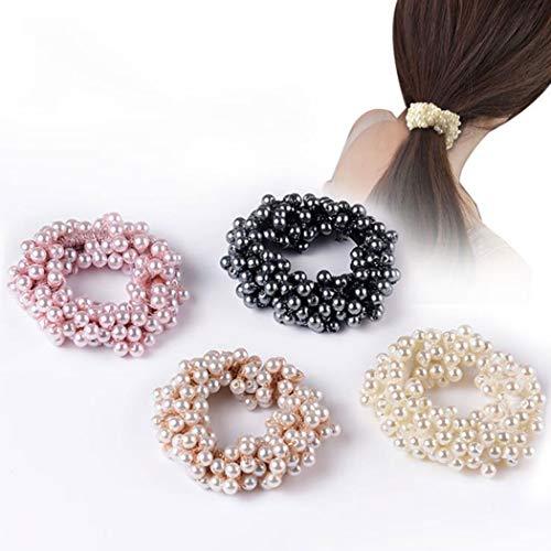 Yean Haargummi Perlen Scrunchie Elastisches Haarseil Weiß Tuch Haarschmuck für Frauen und Mädchen 4 Stück