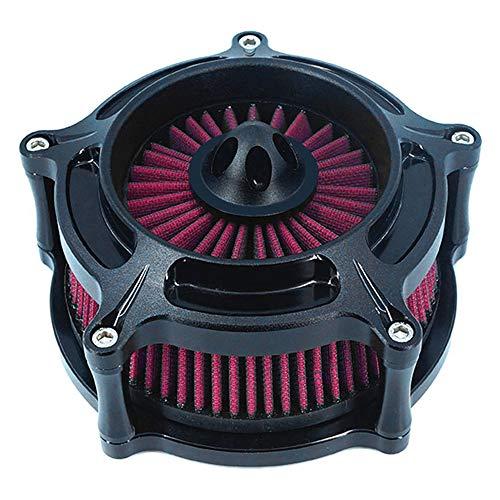 Luftfilter Motorrad Turbine Air Cleaner Intake Filter Cnc Cut Kit Black für Harley Sportster XL 883 XL 1200 2007-2018 Einbau - Design A - Rot