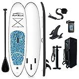 FunWater SUP Stand Up Paddle Board gonfiabile 305 x 76 x 15 cm, accessori completi, pagaia regolabile, sacca da viaggio, borsa impermeabile, portata fino a 100 kg