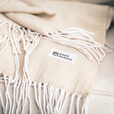 Good Manors Herringbone Throw Blanket, Lightweight, Woven, Snag & Fade Resistant, Casual, Cozy, Warm, Soft, Indoor/Outdoor Use, Everyday Use - 50 x 60 - Champagne (Herringbone Cream)
