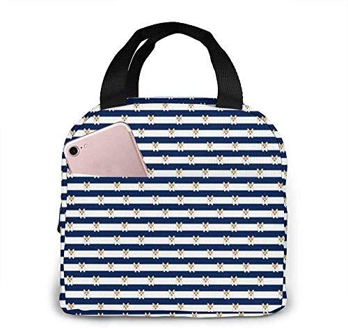 Bolsas de almuerzo con aislamiento, pequeñas rayas de Corgi Rayas azul marino Perros Mascotas Mascotas Fiambrera térmica resistente al agua para el trabajo
