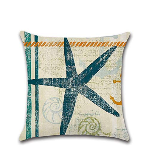 Sea Animal Series Pillowcase Zj-0055 Seahorse Starfish Linen Pillowcase Home Decoration Cushion Cover 45 * 45Cm