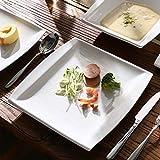 MALACASA, Serie Blance, 60 TLG. CremeWeiß Porzellan Geschirrset Kombiservice Tafelservice mit je 12 Kaffeetassen, 12 Untertassen, 12 Dessertteller, 12 Suppenteller und 12 Flachteller - 2