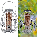 winemana Outdoor Hanging Wild Bird Feeder, Transparent Plastic Tube Inside, Suitable for Mixed Seeds, Squirrel Proof with Large Metal Guard Cage Outside