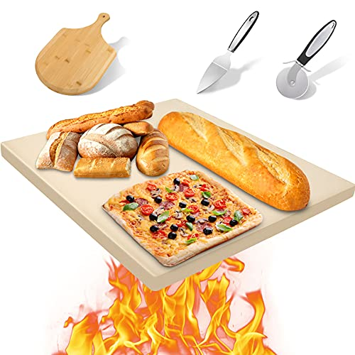 HOUSDAY Pizza Stone, 15'x12' Cordierite Baking Stone for Oven and Gill Pizza Peel Paddle Pizza Cutter Wheel Pizza Server Safe Durable Thermal Shock Resistant Cooking Stone for Crispy Crust Bread BBQ