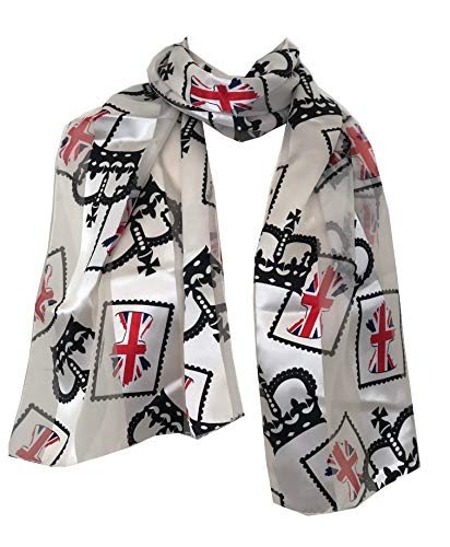 Pamper Yourself Now Creme mit roten Kronjuwelen und Union Jack Flagge, dünne hübsche Schal-Cream with red crown jewels and Union Jack, thin pretty scarf with black border