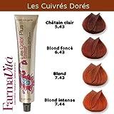 Coloration cheveux FarmaVita - Tons Cuivrés Dorés Blond intense cuivré doré 7.44