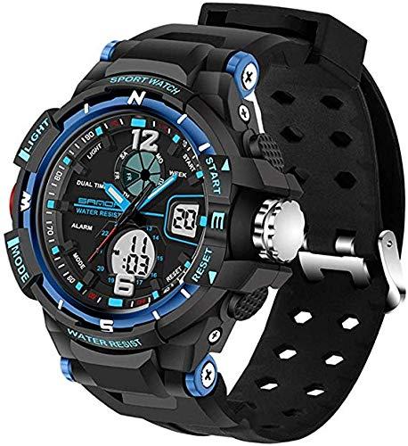LLDKA Triple Mouvement et avec Un écran LED rétro-éclairé Silicium imperméable à l'eau et Un réveil et la Date et la Fonction chronomètre et Les Hommes Semaine de Quartz,Bleu