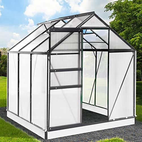BRAST Gewächshaus Aluminium mit Fundament rostfrei 190x190x195cm Grau 4mm Platten 37 Modelle Alu Treibhaus Glashaus Tomatenhaus