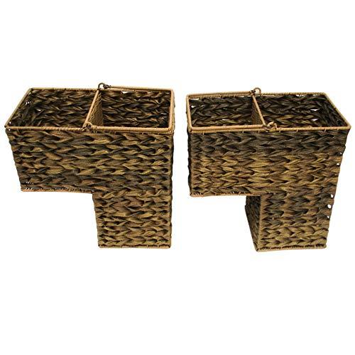 Trademark Innovations 14.5' Plastic Wicker Storage Stair Basket with Handles