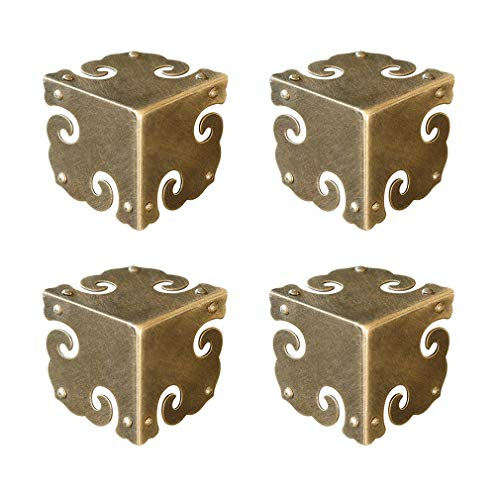 Tiazza 4Pcs Vintage Pure Brass Corner Protectors Antique Hardware Desk Edge Wooden Jewelry Gift Box Cabinet Three Sides Full Encase Corner Guard (Antique Bronze)