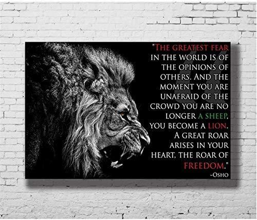 Lion Osho Zitate - Inspirierend Motivierend Hd Kunst Poster Druck Leinwand Bilder Wohnzimmer Bilder Dekoration Geschenk -60x90cm Kein Rahmen
