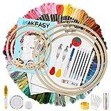 Kit de principiantes de bordado, 100 hilos de colores, 40 alfileres de costura, 3 paños Aida, 5...