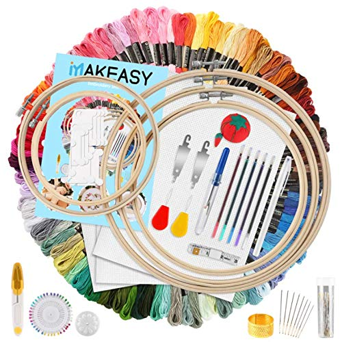 MAKEASY 205Pz Ricamo Starter Kit 100Colori Fili Ricamo, Kit di Attrezzi a Punto Croce con 100 Fili Colorati, 5 Pezzi di Cerchi di bambù, Regalo Perfetto