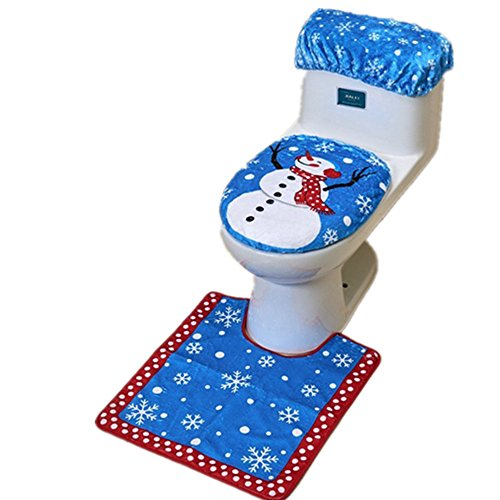 3pcs/set decoraciones de Navidad Feliz Santa tapa de inodoro y alfombra baño Set Kit para cojín–asiento para inodoro con tapa para inodoro