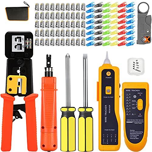 MAYLINE - Comprobador de red Cat5e Cat6 Cat 6, cable kit de herramientas de reparación de ordenador (mantenimiento profesional, RJ45, RJ11), color naranja