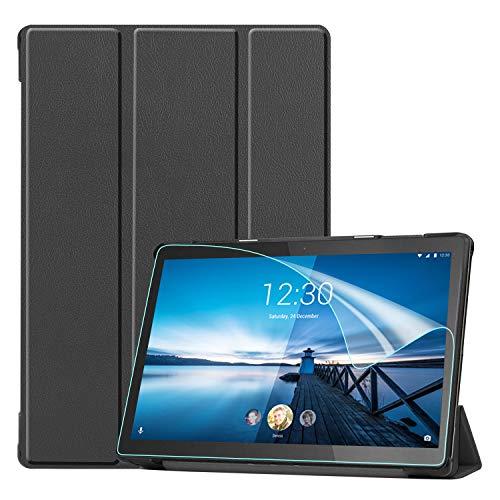 Keteen Hülle für Lenovo Tab M10 FHD Rel Flip Cover Slim Premium PU Ledertasche Klappständer Stoßfest Cover Full Body Schutzhülle für Lenovo Tab M10 FHD Rel TB-X605FC/X605LC, Schwarz