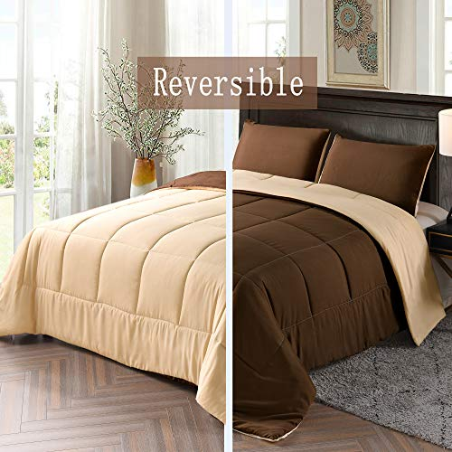 Exclusivo Mezcla Lightweight Reversible 2-Piece Comforter Set for All Seasons, Down Alternative Comforter with 1 Pillow Shame, Twin Size, Brown