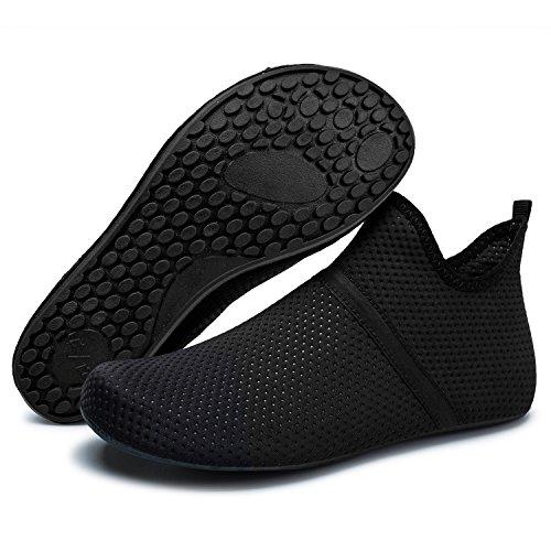 Barerun Water Shoes Mens Womens Beach Swim Shoes Quick-Dry Aqua Socks Pool Shoes for Surf Yoga Water Aerobics Black 12-13 US Men
