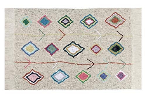 Lorena Canals - Kaarol - Natural, Multicolor - 97 % algodón 3 % Otras Fibras. Base: Algodón Reciclado - 140x200 cm