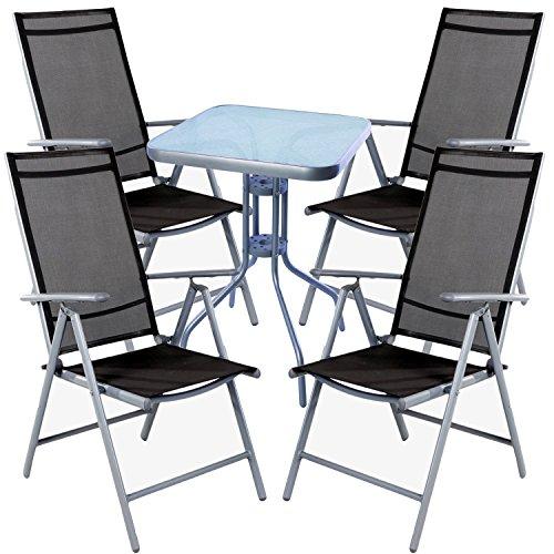 mojawo® Salon de 5 pièces table de bistro métal 60 x 60 cm H70 cm + 4 chaises pliantes en aluminium/textile Argent/Anthracite