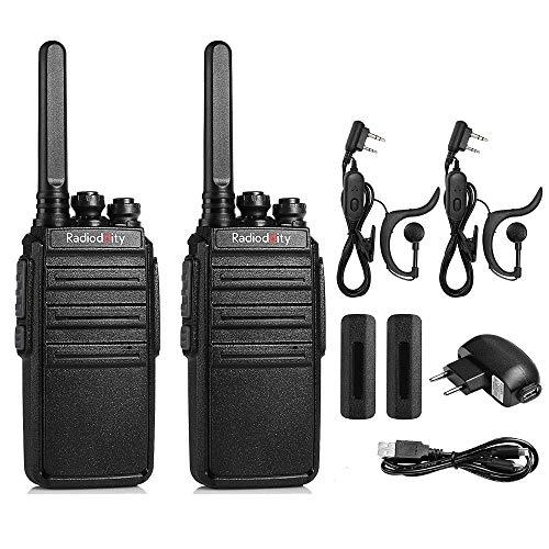 Radioddity GA-2S PMR Walkie Talkie Set 4 KM Reichweite Wiederaufladbar Lizenzfreies Funkgerät Set 16 Kanäle Walki Talki mit USB-Anschluß und Headset (2er Set)